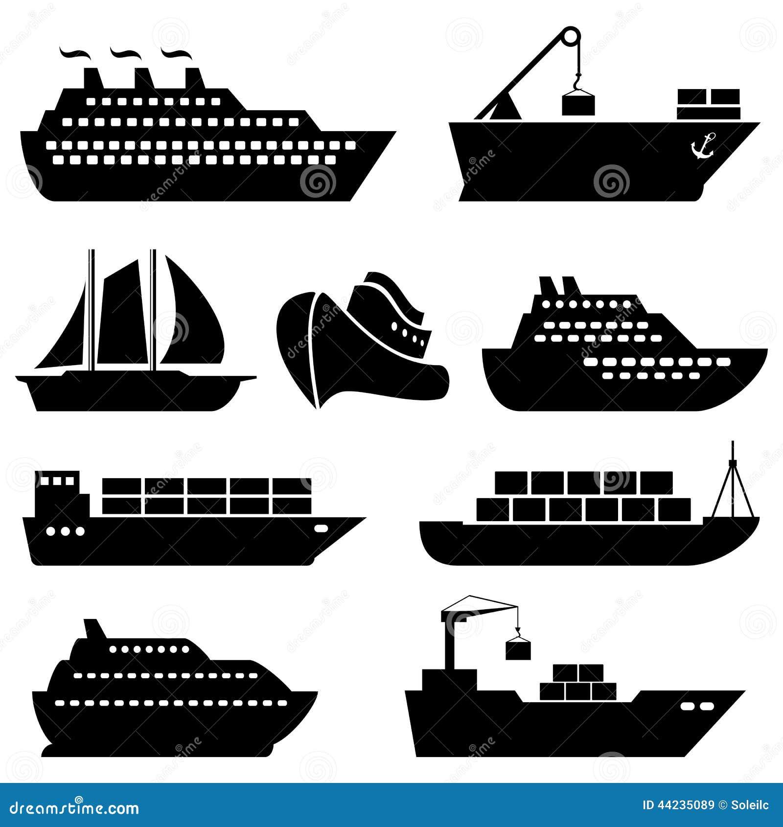 Schiffe Boote Fracht Logistik Und Versandikonen Vektor