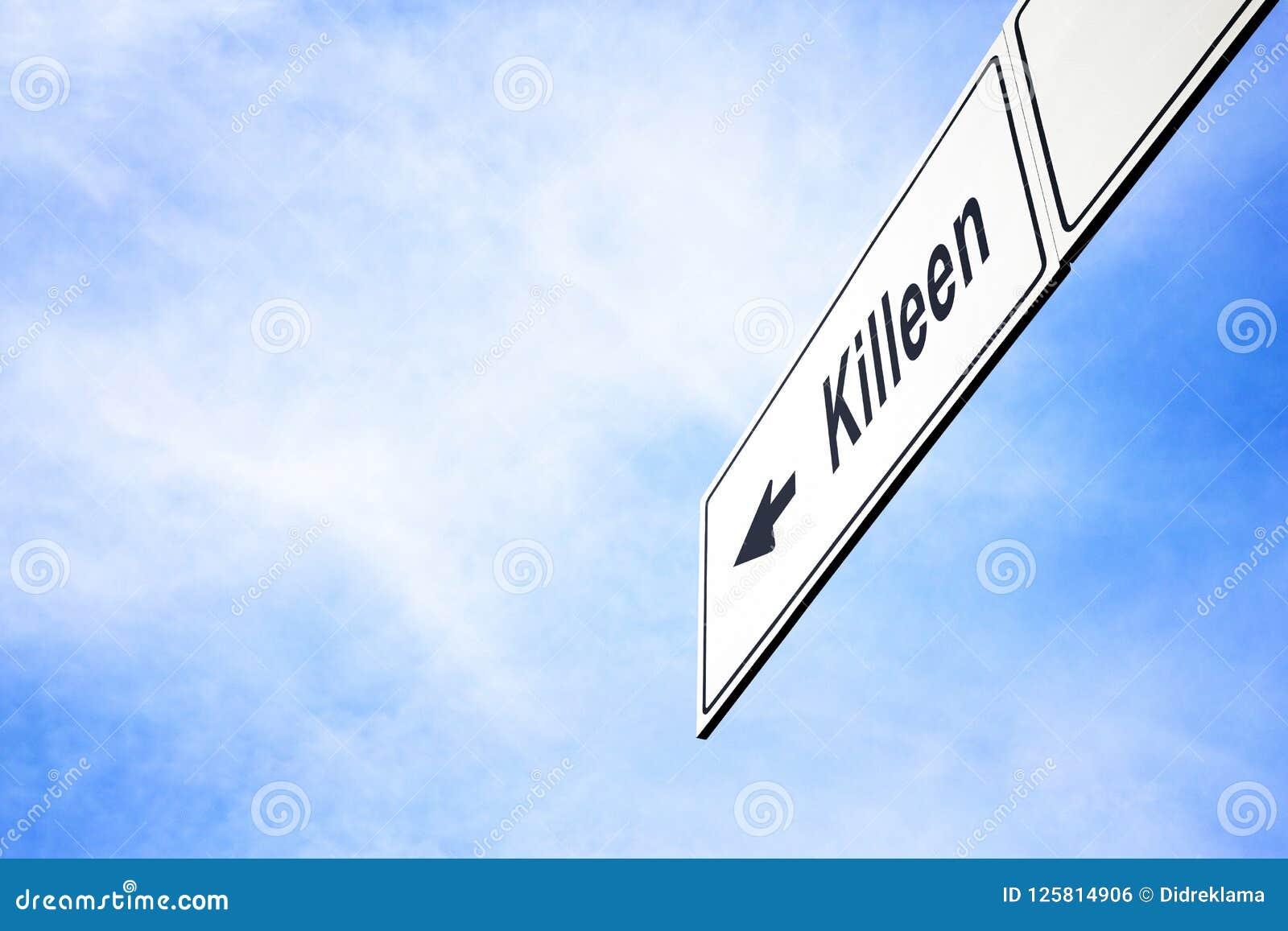 Schild, das in Richtung zu Killeen zeigt