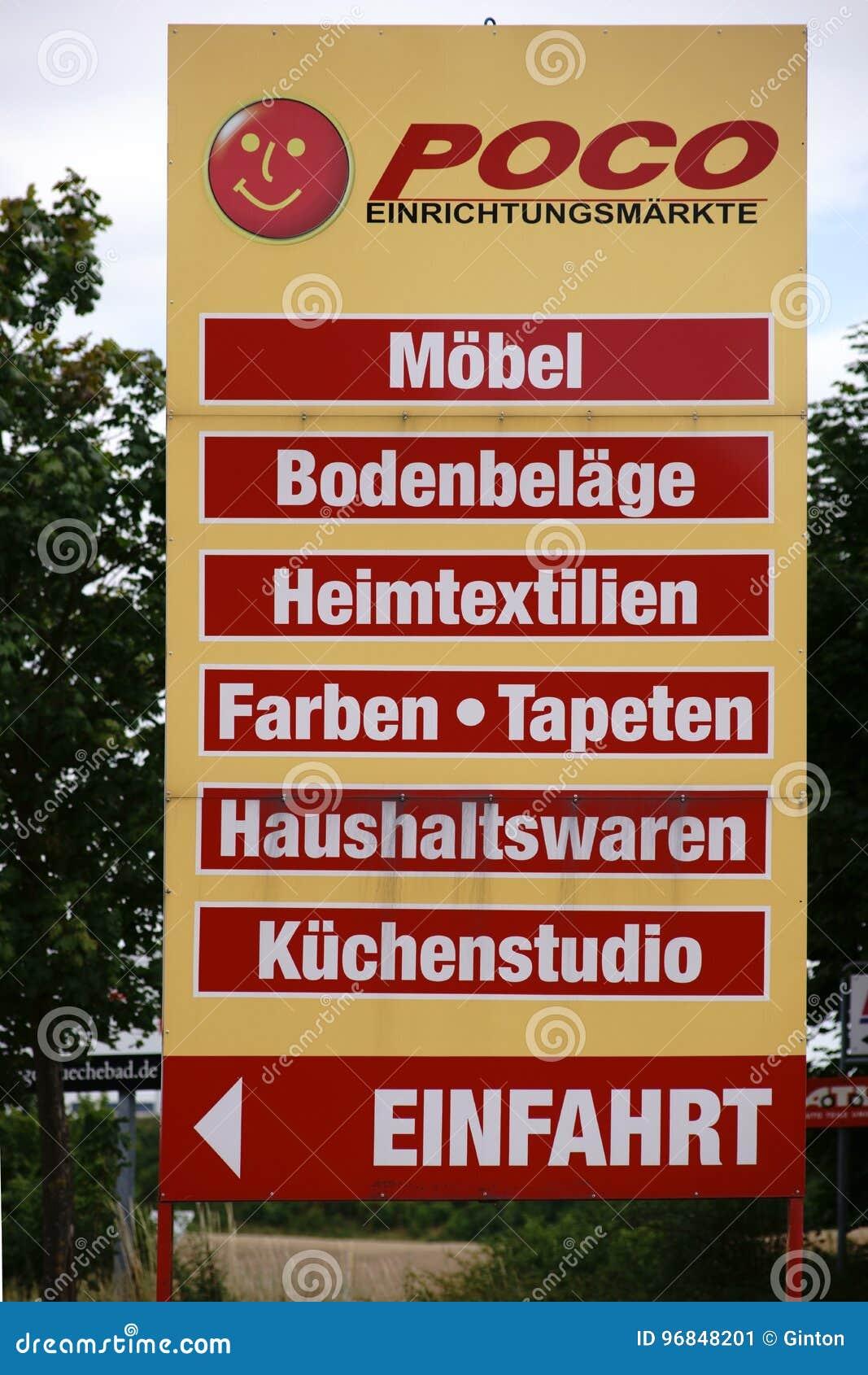 Schild Poco Mobelmarkt Redaktionelles Foto Bild Von