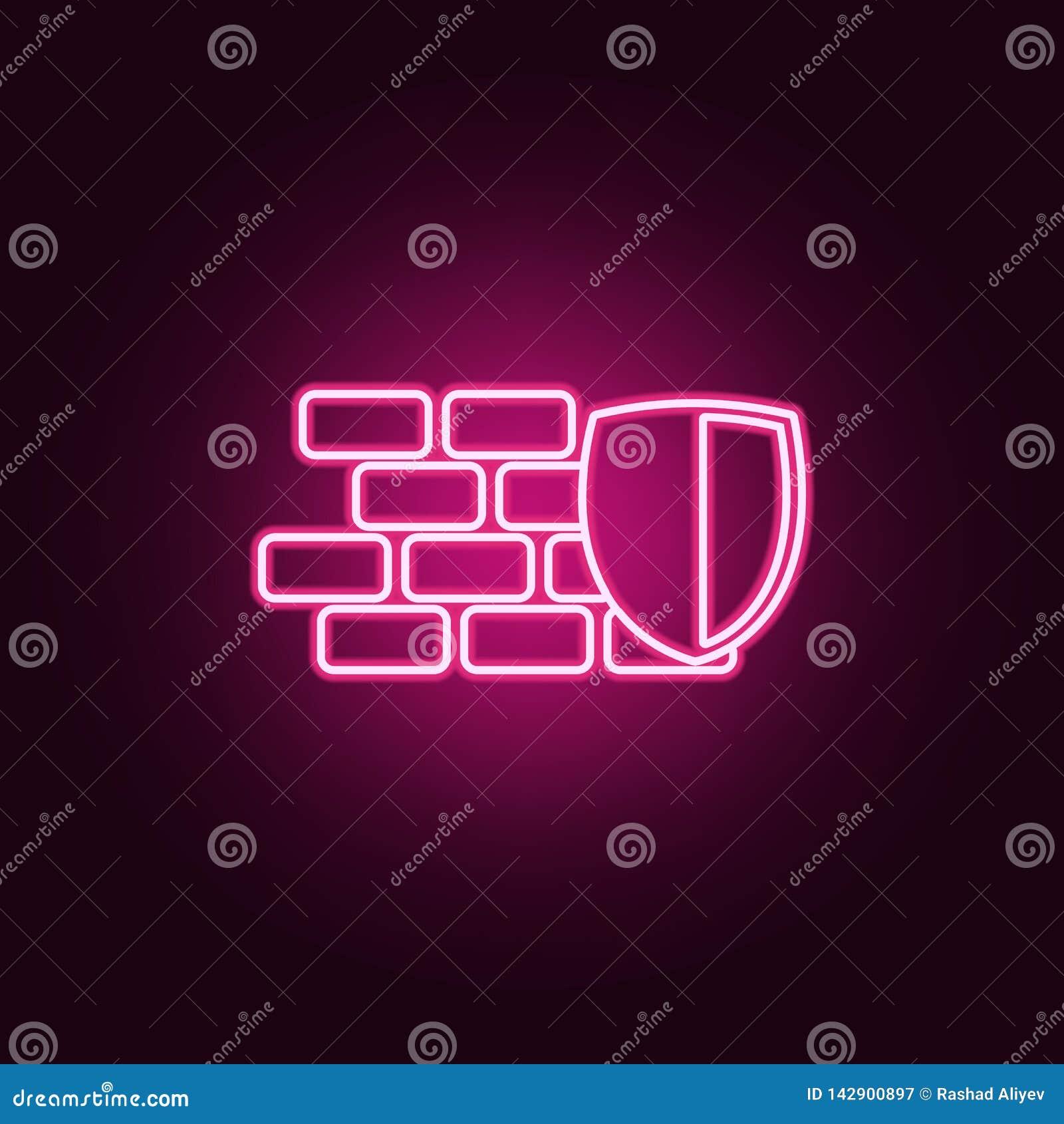 Schild- und Wandikone Elemente der Internetsicherheit in den Neonartikonen Einfache Ikone f?r Website, Webdesign, mobiler App, In
