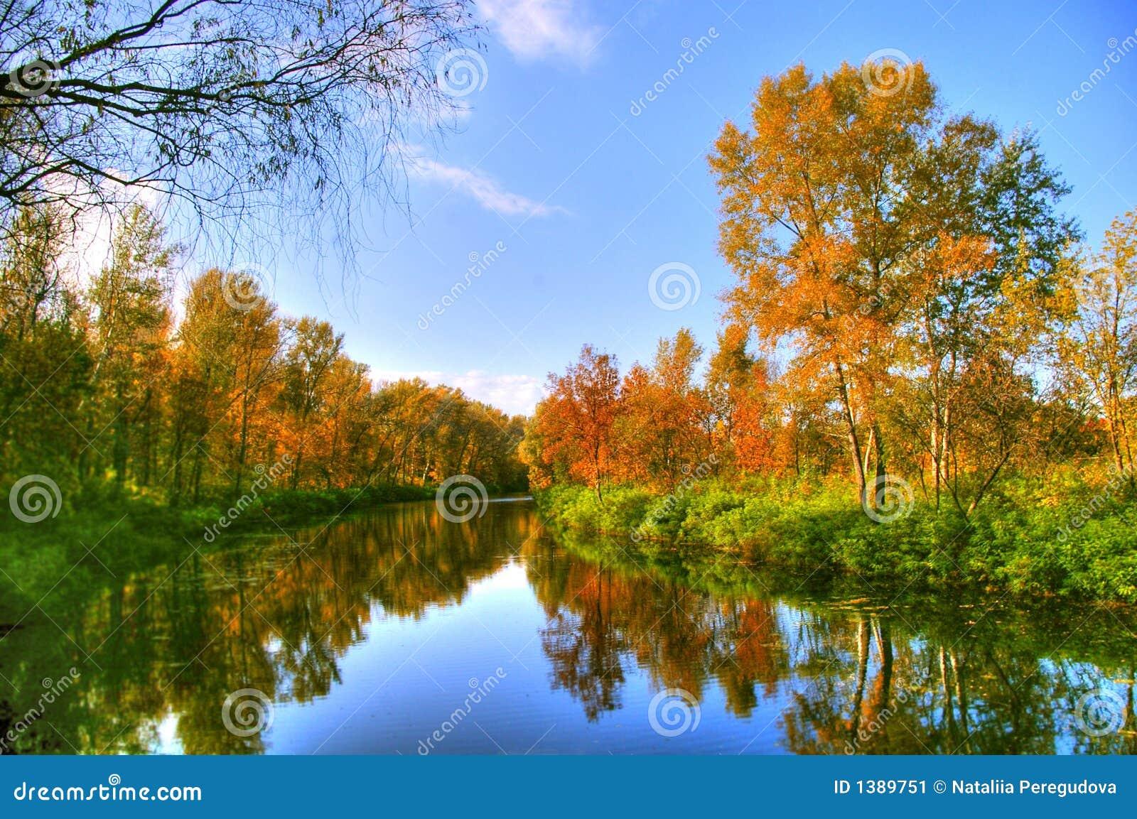 Schilderachtig de herfstlandschap van regelmatige rivier en heldere bomen