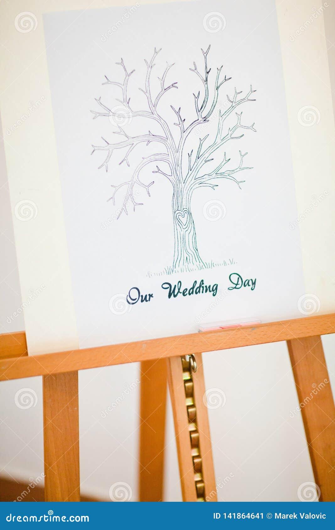 Schildersezel de boom met van de 'Ons huwelijks 'dag voor zoektocht