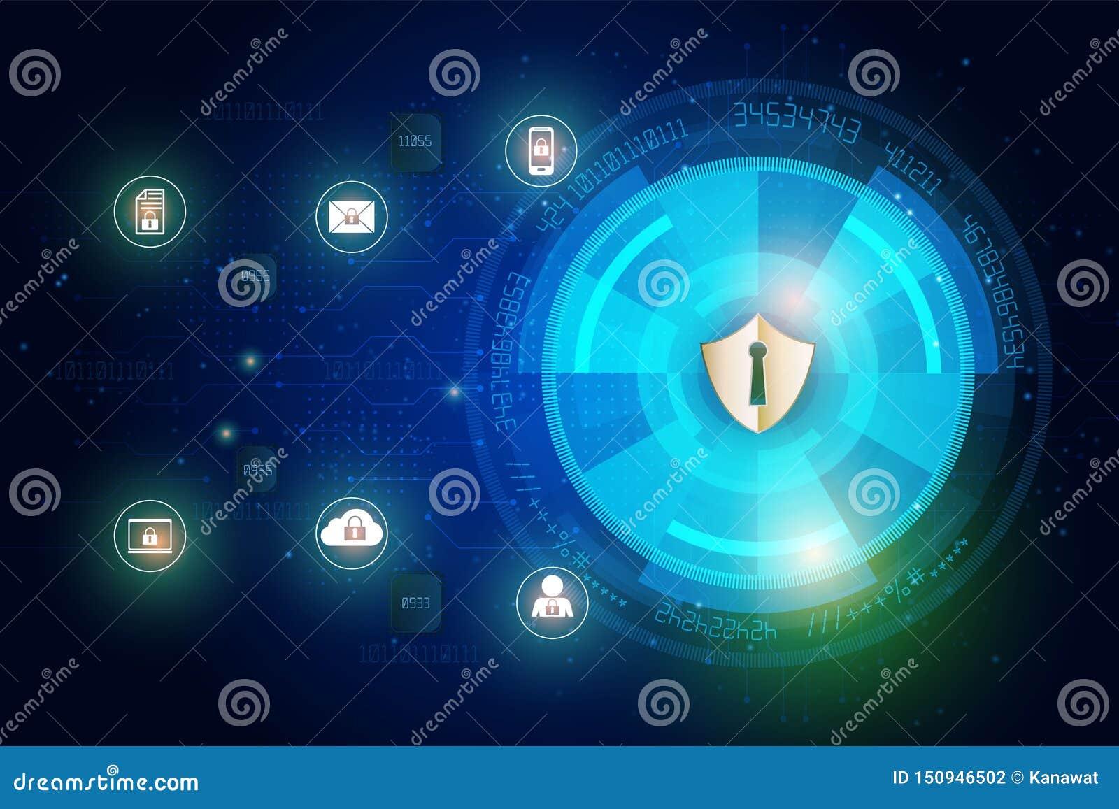 Schildikone auf digitalen Daten der abstrakten Technologiesicherheit und Hintergrund des Sicherheitsglobalen netzwerks, Vektorill