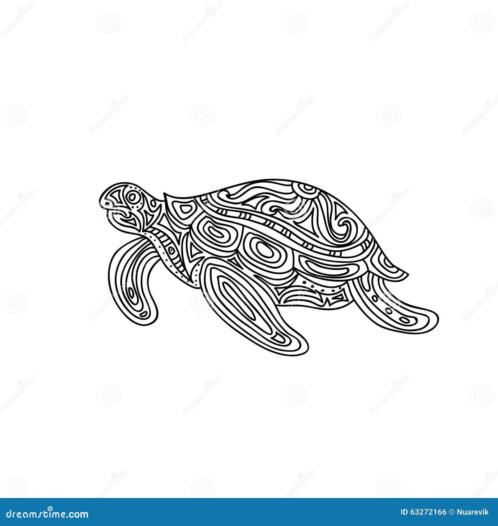 Schildkrte Zentangle Farbtonseite Stock Abbildung Bild 63272166
