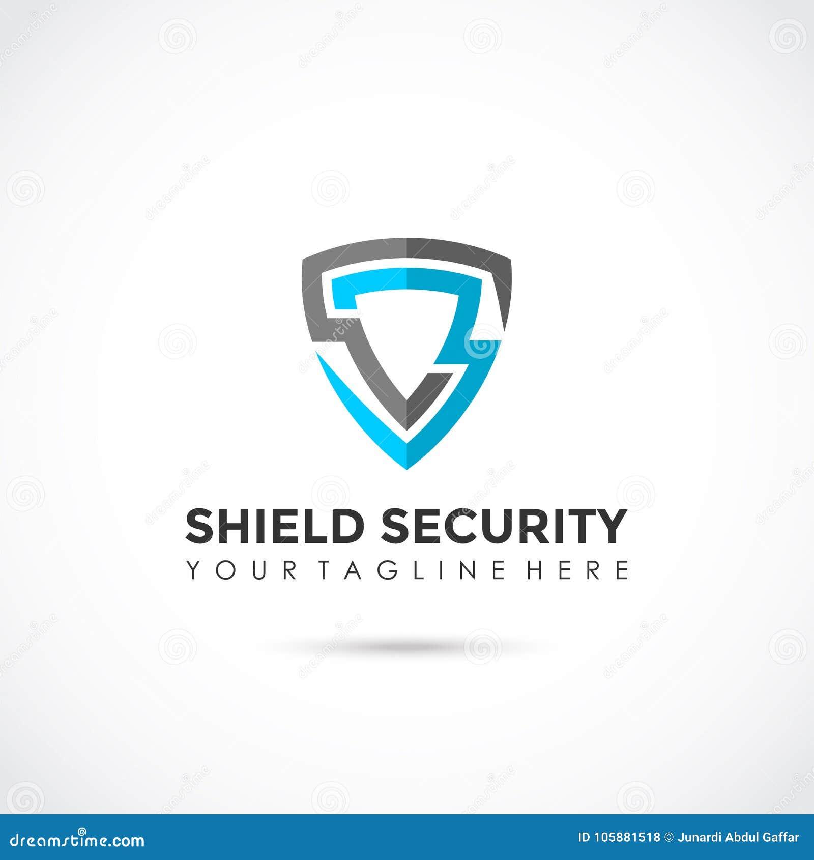 Schildveiligheid Vlak Logo Design Vectorillustrator EPS 10