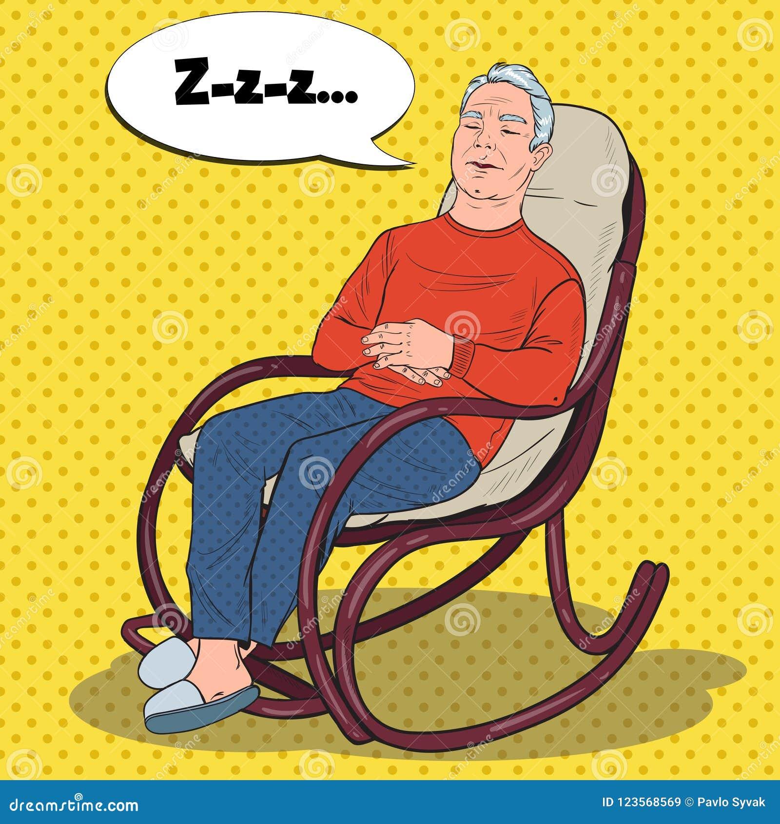 Nonno In Poltrona.Schiocco Art Senior Man Sleeping In Sedia Nonno Che Riposa