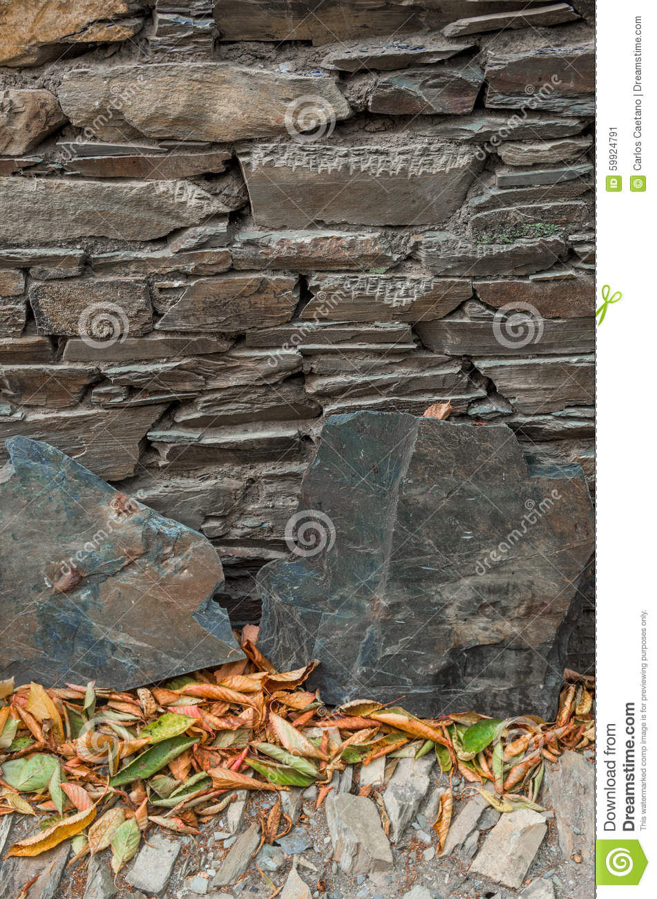 Schist House Detail Stock Photo Image 59924791
