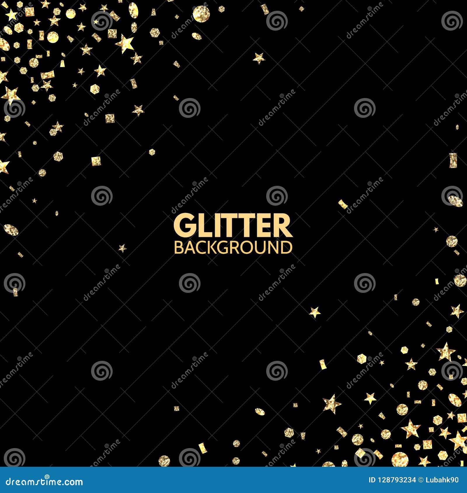 Schitter achtergrond Helder Vrolijk Kerstmiskader Gouden fonkeling op zwarte achtergrond Het vallen schittert confettien Vector