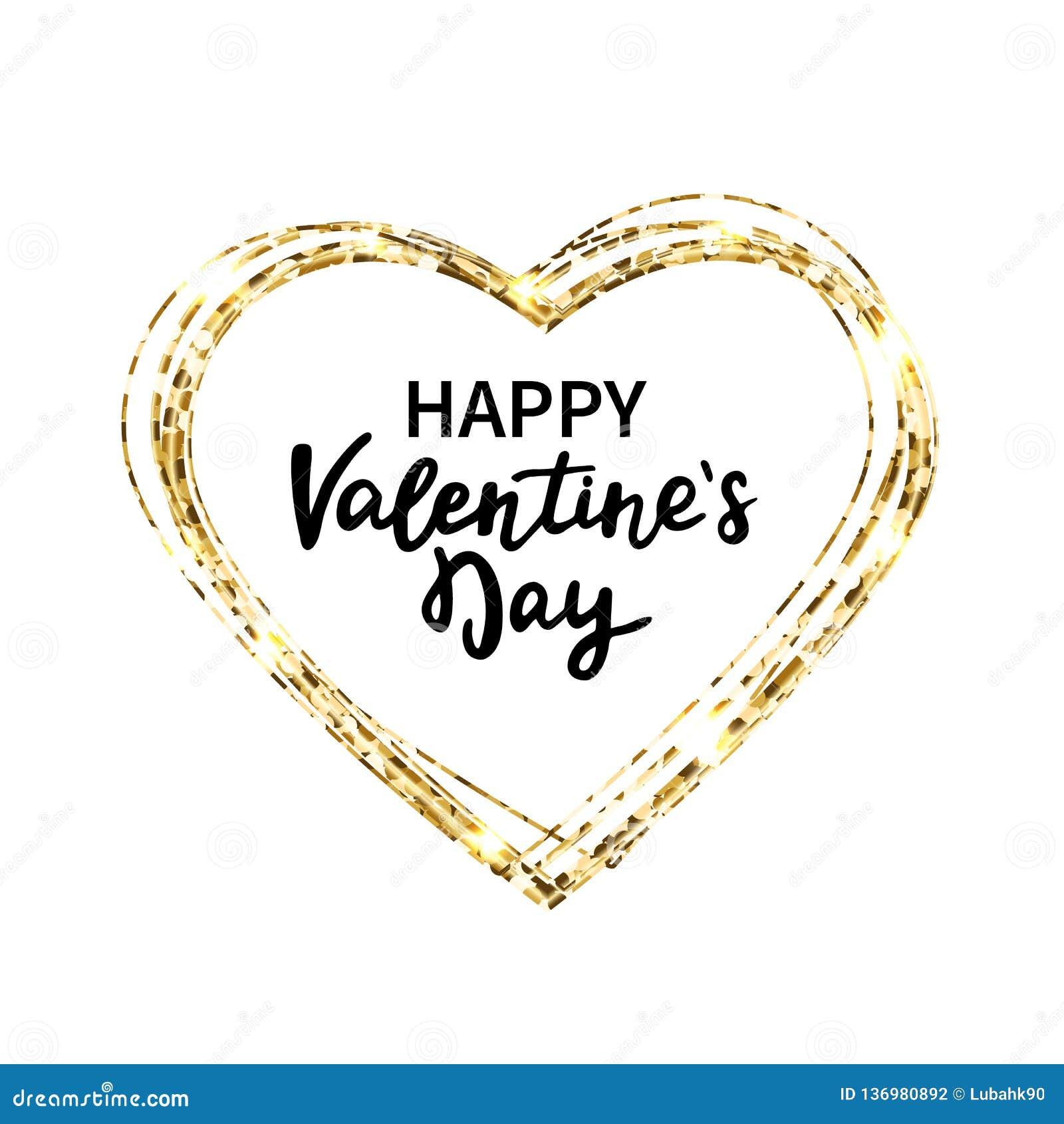 Schitter hartkader Het gelukkige Van letters voorzien van de Hand van de Dag van Valentijnskaarten Het goud schittert hart en tek