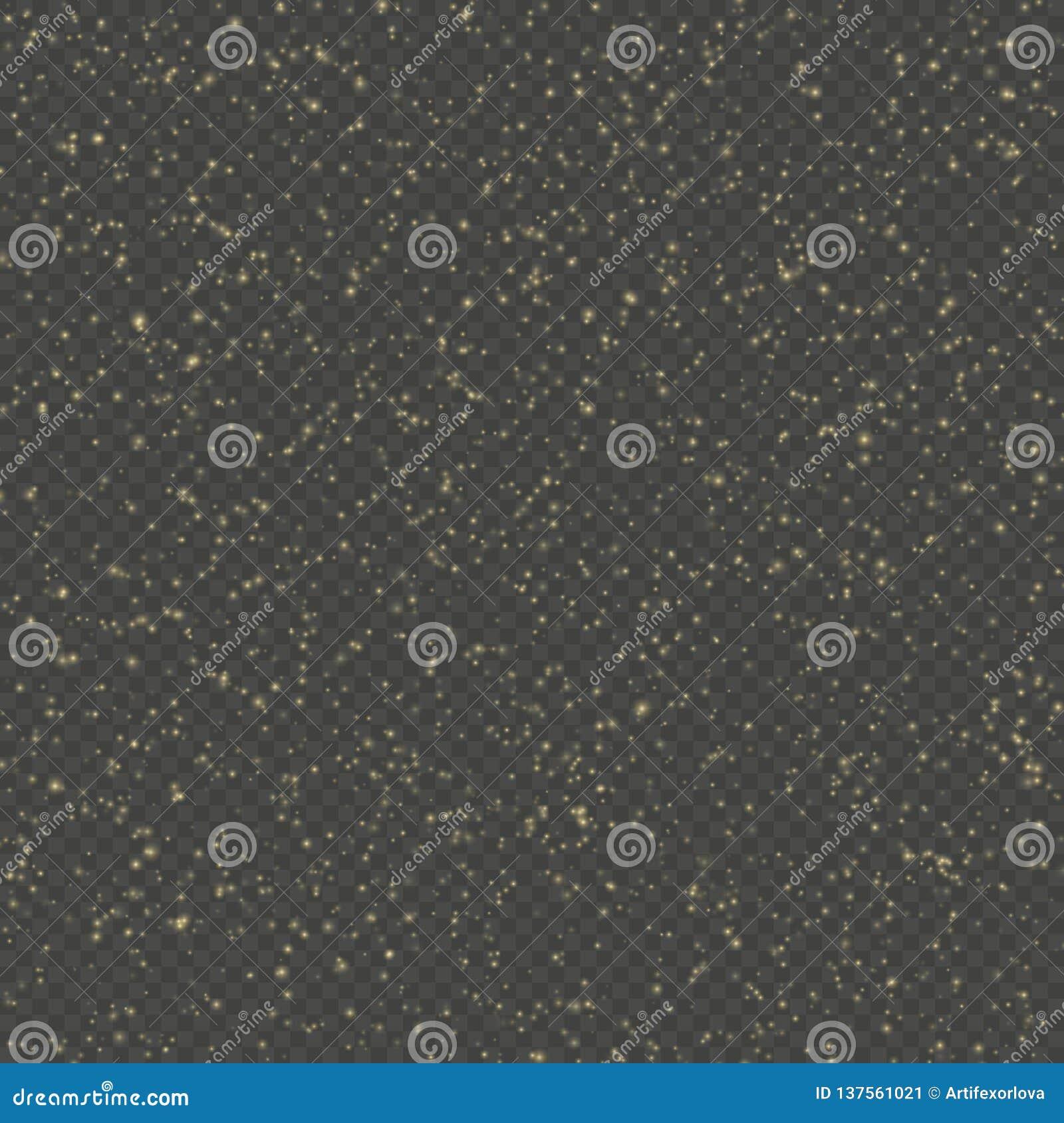 Schitter het effect van de deeltjesbekleding De gouden schitterende fonkelende deeltjes van het sterstof op transparante achtergr