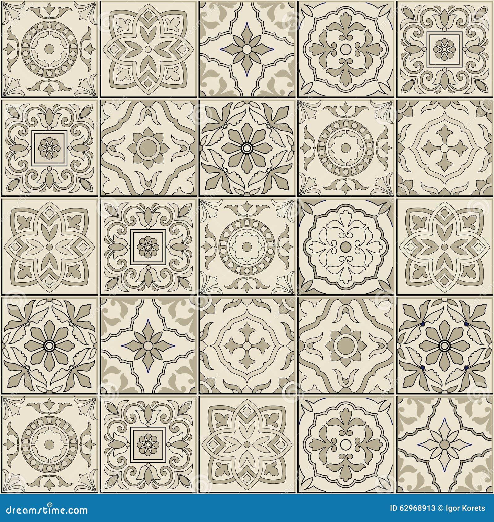 Schitterend naadloos patroon Marokkaanse, Portugese tegels, Azulejo ...