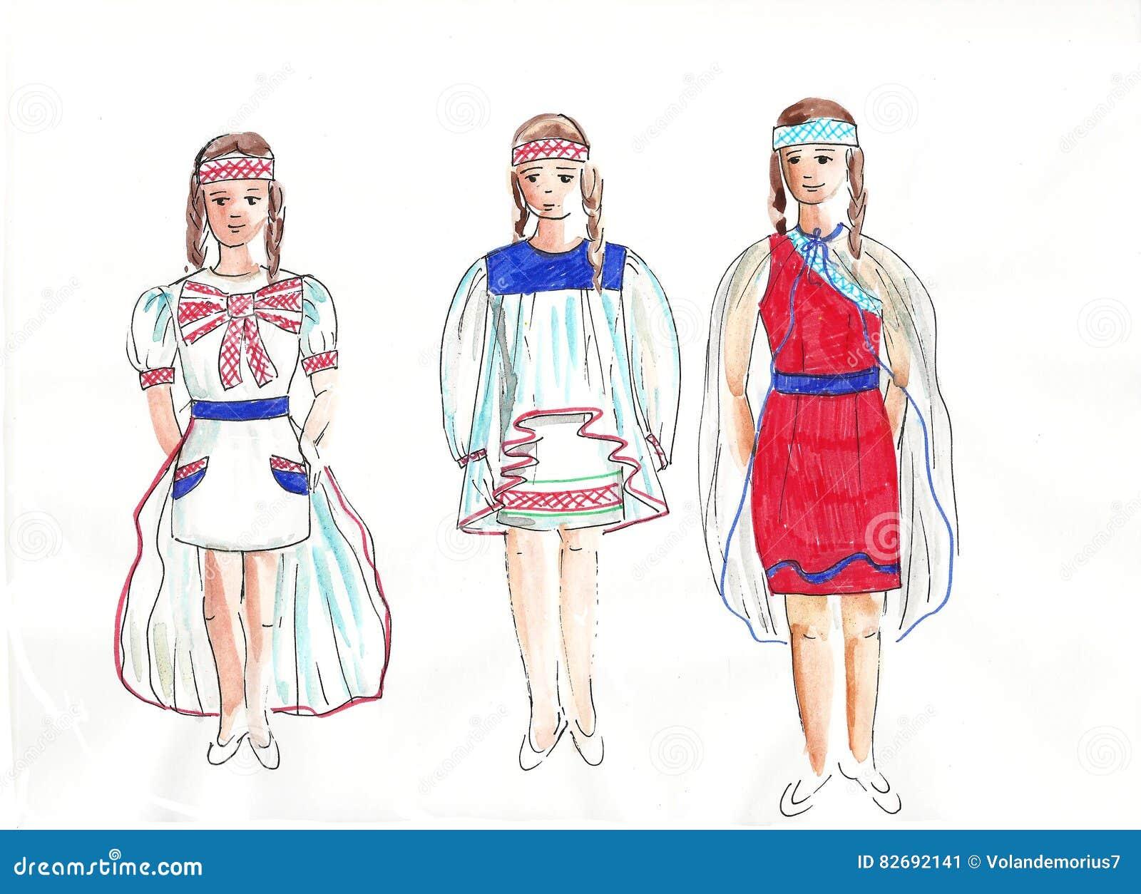 4947bd2e5e86 Schizzi Dei Vestiti Alla Moda Per Le Ragazze Illustrazione di Stock ...