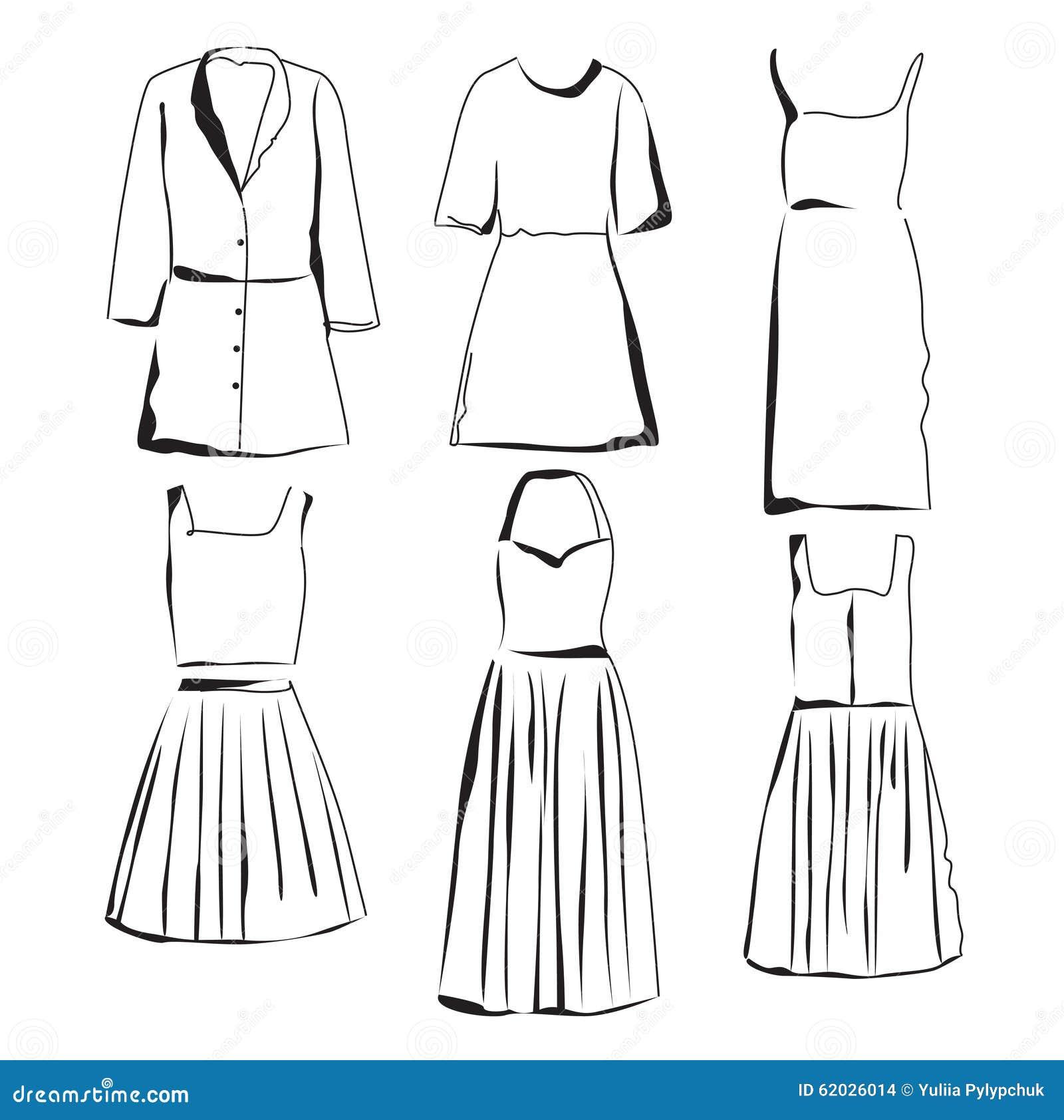 schizzi dei vestiti fissati illustrazione vettoriale illustrazione di matita vettore 62026014. Black Bedroom Furniture Sets. Home Design Ideas