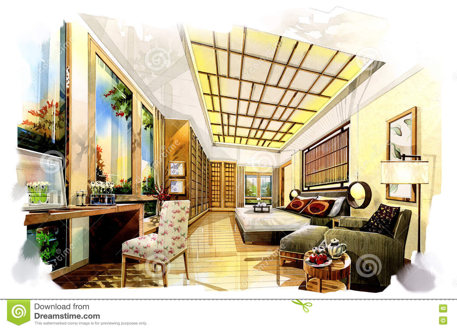 Schizzi i giapponesi interni della camera da letto in un acquerello illustrazione di stock - I segreti della camera da letto ...