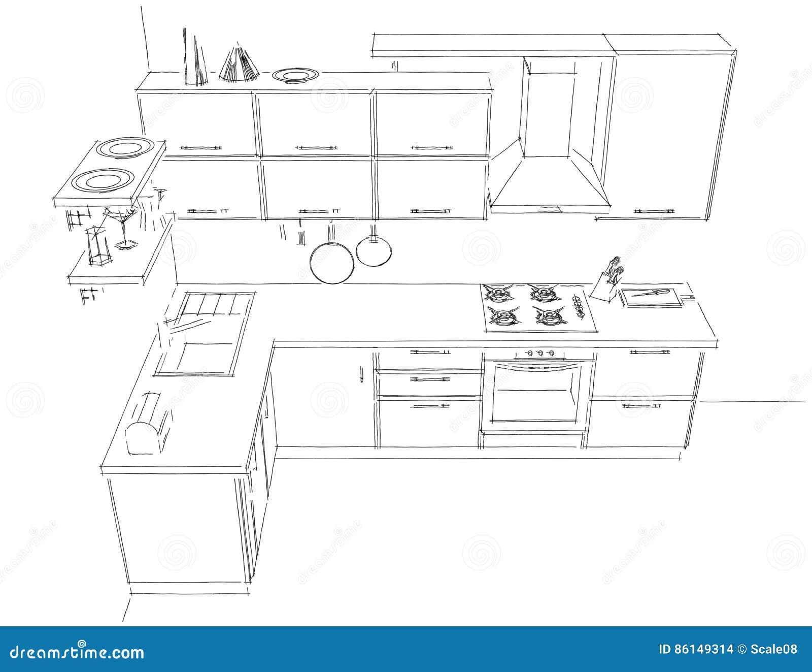 Schizzi il disegno astratto di contorno di in bianco e for Disegno cucina