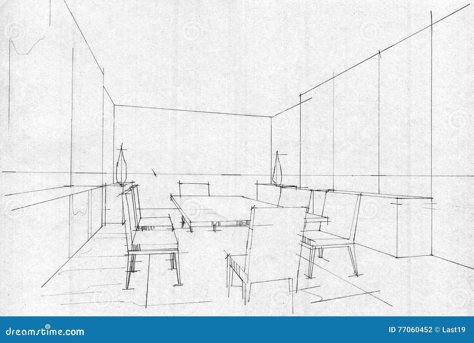 Schizzi Il Roomcorridor Pranzante Interno Di Prospettiva Interior Design In Bianco E Nero Illustrazione Di Stock Illustrazione Di Background Architettura 77060452