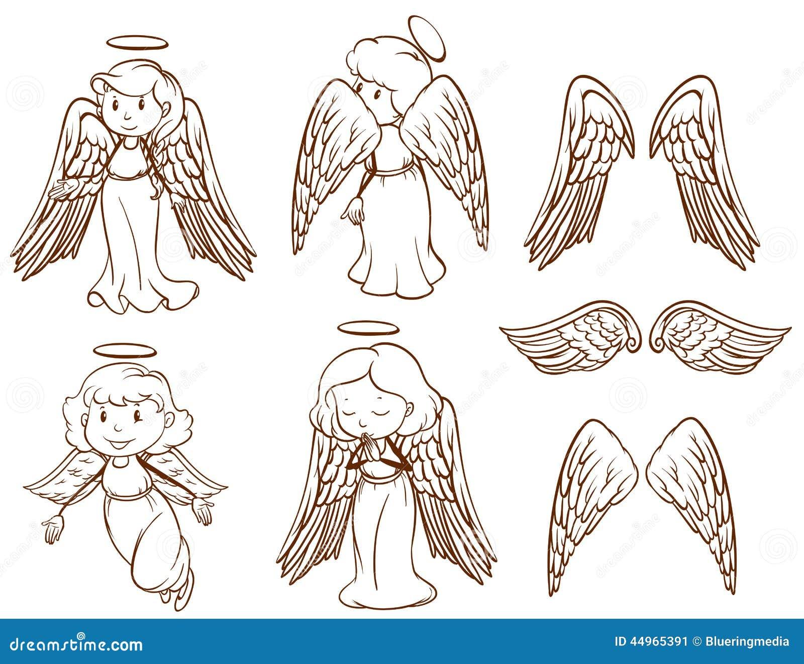 Schizzi Semplici Degli Angeli E Delle Loro Ali Illustrazione