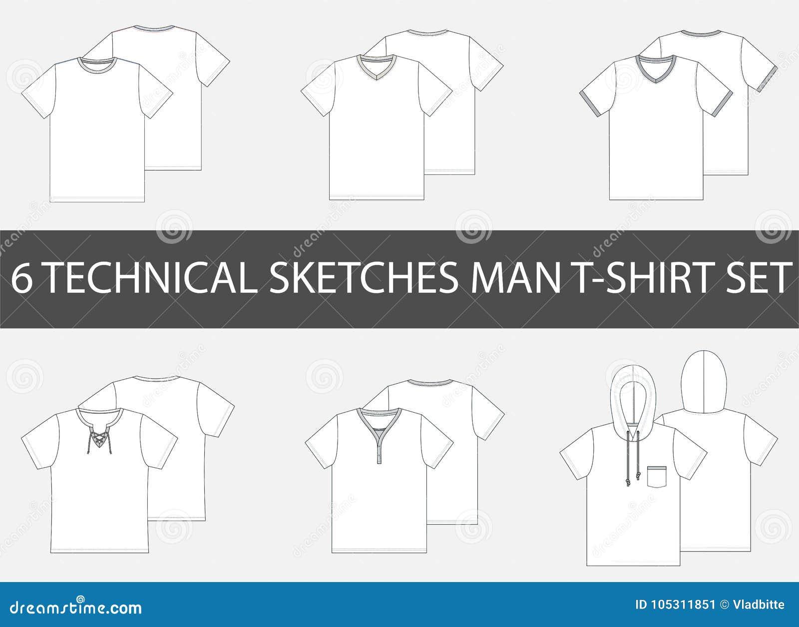 6 schizzi tecnici di modo della maglietta del ` s degli uomini