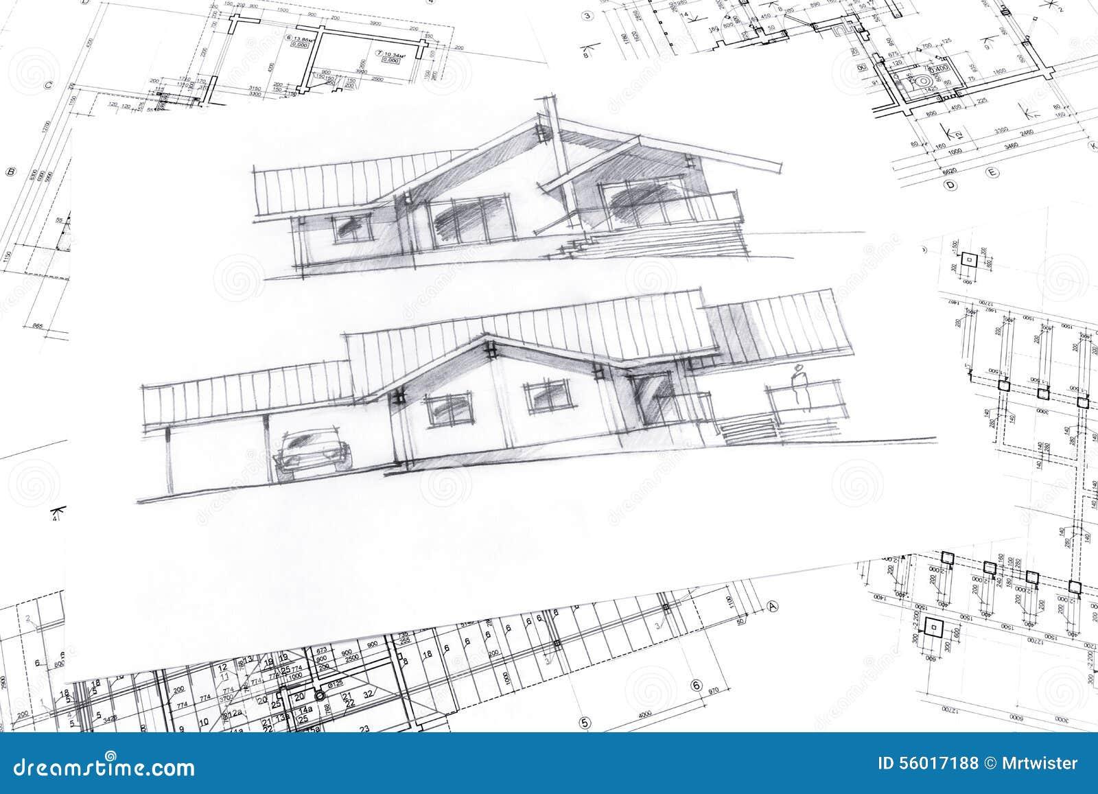 Schizzo con i disegni tecnici di progetto illustrazione di for Programma architettura gratis