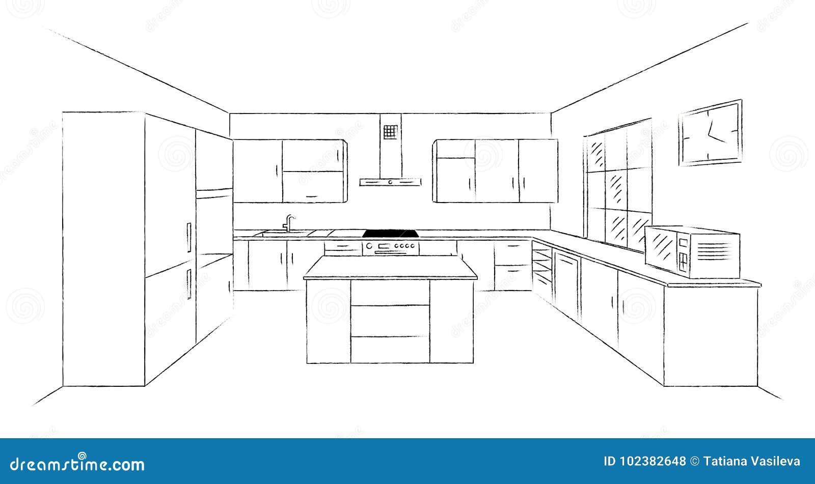 Schizzo 3d della cucina illustrazione vettoriale for Cucina in 3d