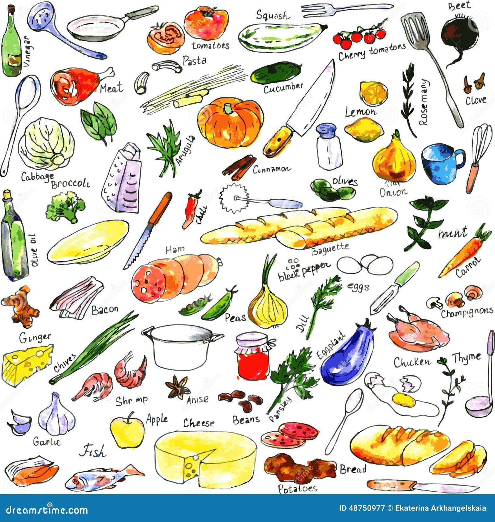 Alimenti Degli Utensili E Del Disegno Di Attrezzatura Della Cucina  #BDA90E 1300 1388 Utensili Da Cucina Disegni
