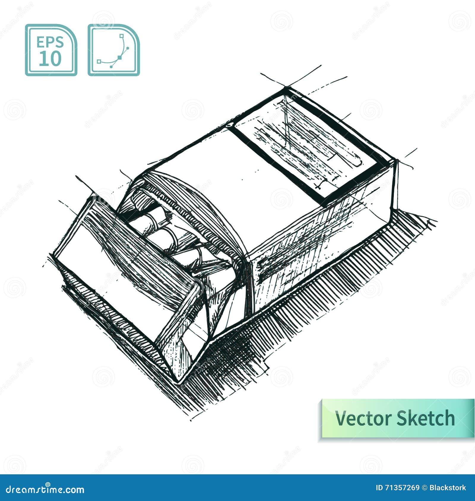 Schizzo Del Pacchetto Delle Sigarette Di Vettore Illustrazione Per