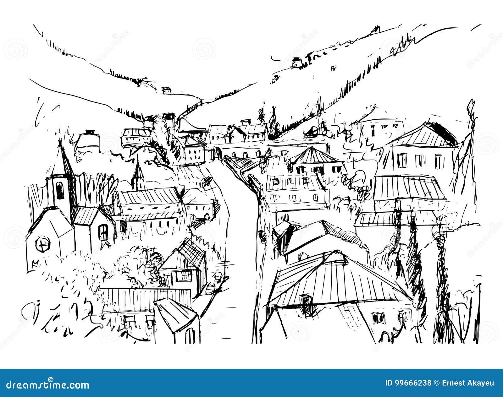 Paesaggio Di Montagna Disegno.Schizzo Del Paesaggio Della Montagna Con I Colori Disegnati A Mano