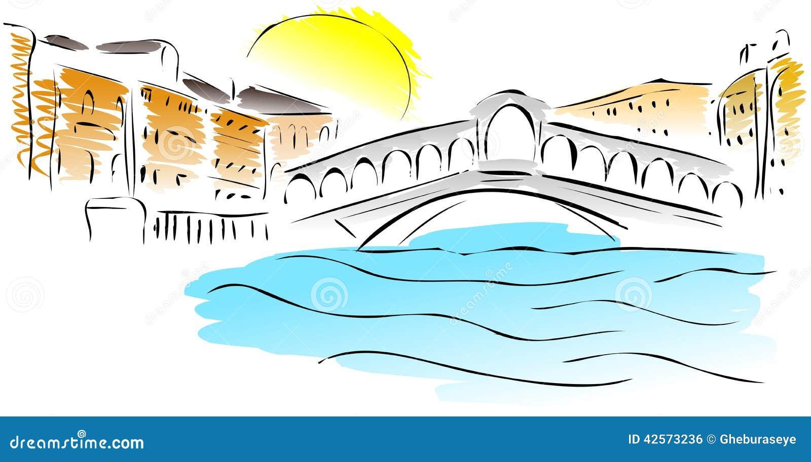 Schizzo del ponte di rialto illustrazione di stock for Ponte sopra i disegni del garage