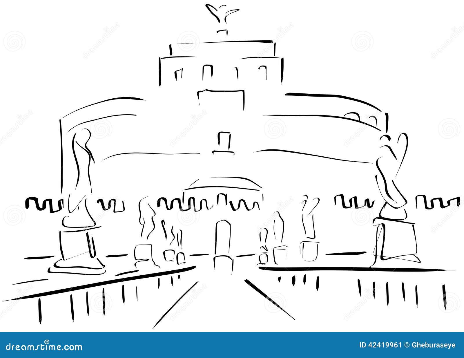 Schizzo del sant 39 angelo castle illustrazione vettoriale for Europeo arredamenti mosciano sant angelo