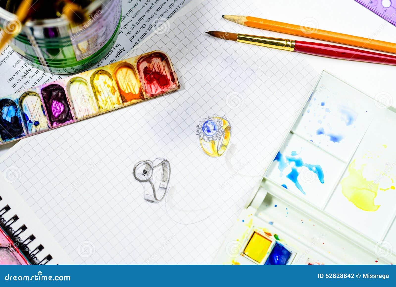 progettazione gioielli schizzo dell 39 acquerello di progettazione dei gioielli sul
