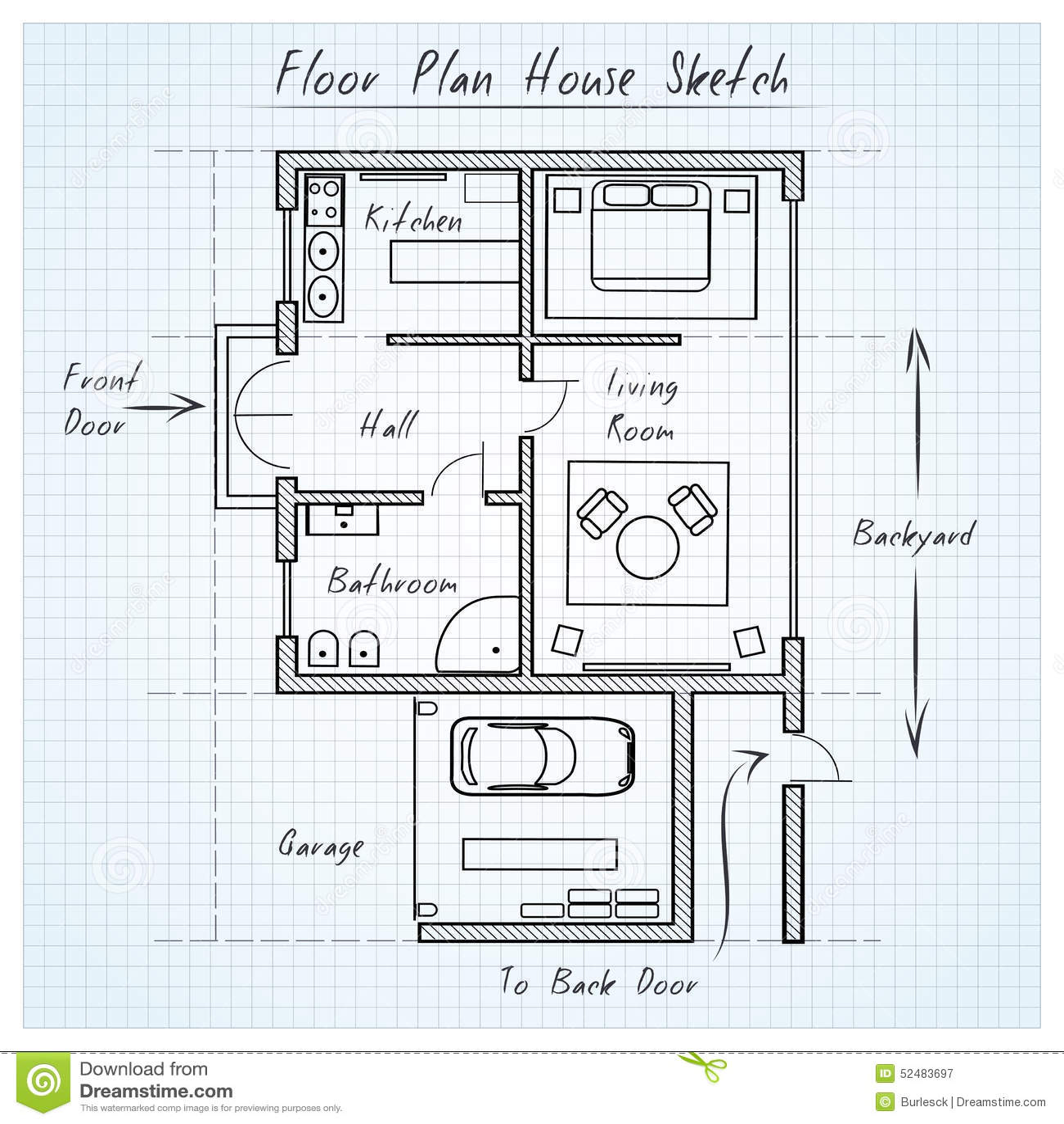Schizzo della casa della pianta illustrazione vettoriale - Disegno pianta casa ...
