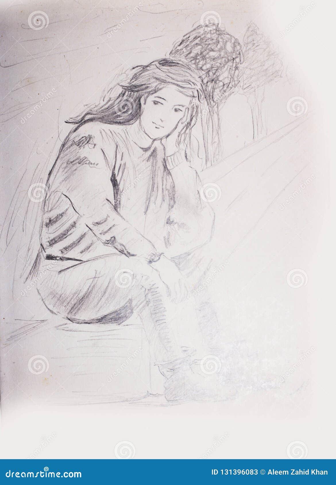 Schizzo della matita di una ragazza che si siede su un percorso e su un attesa del piede