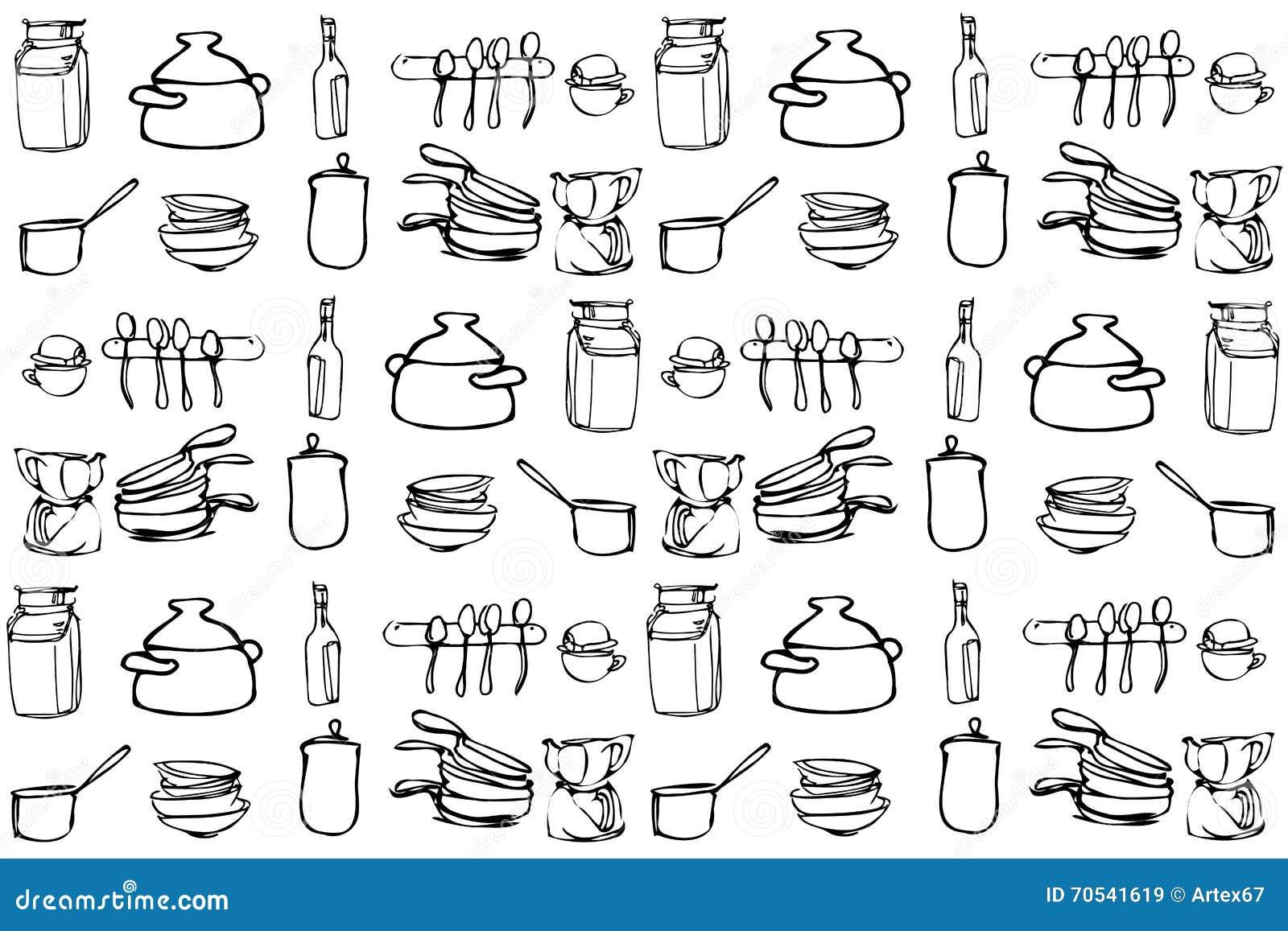 Schizzo di vettore degli utensili della cucina nell 39 ordine for Parati da cucina