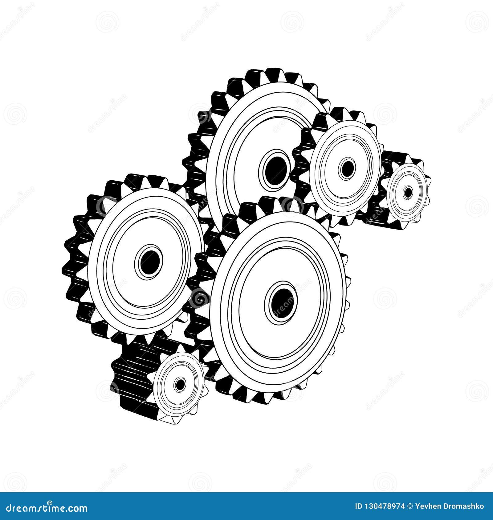Schizzo disegnato a mano degli ingranaggi meccanici nel nero isolati su fondo bianco Disegno d annata dettagliato di stile incisi
