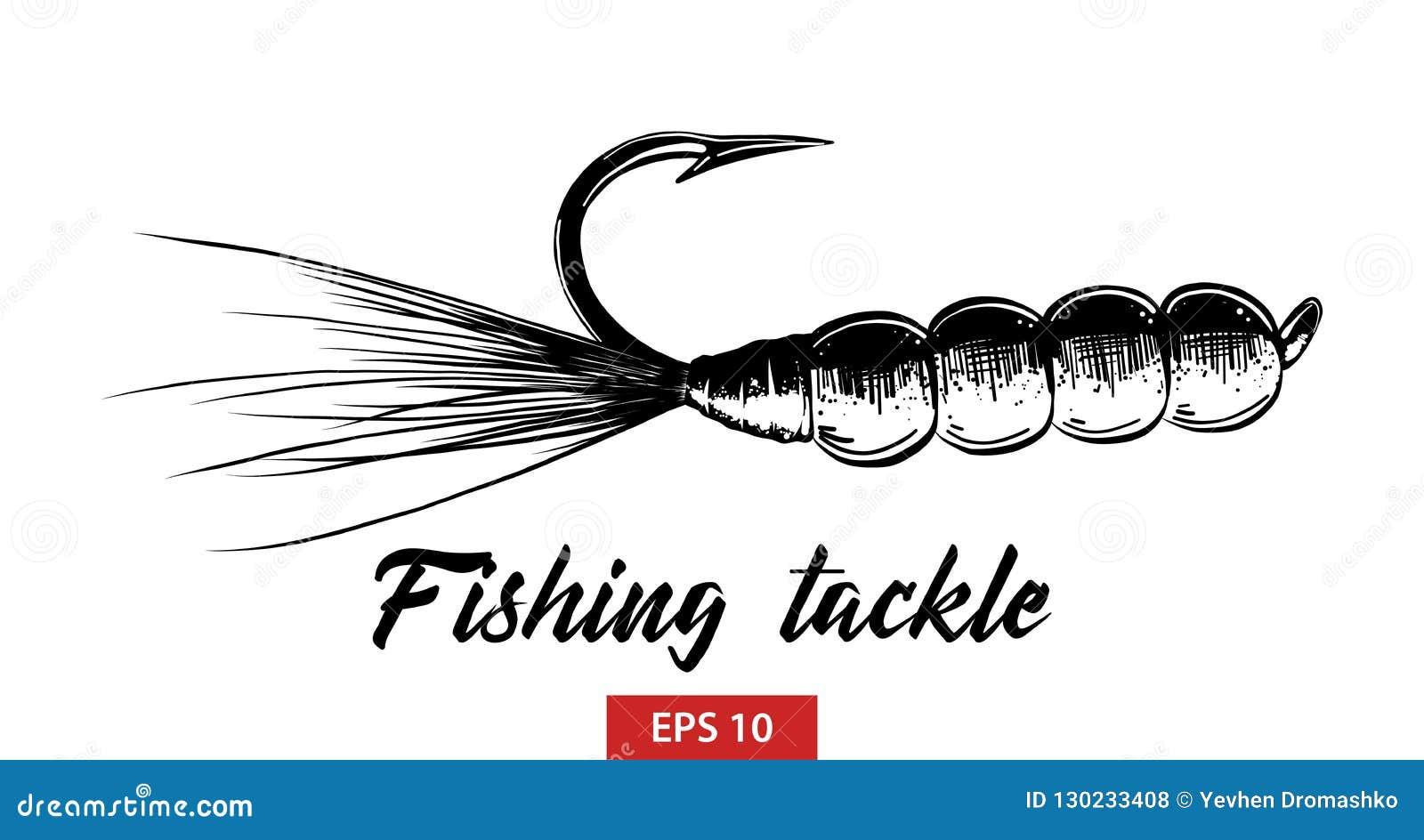 Schizzo disegnato a mano dell attrezzatura di pesca nel nero isolata su fondo bianco Disegno d annata dettagliato di stile incisi
