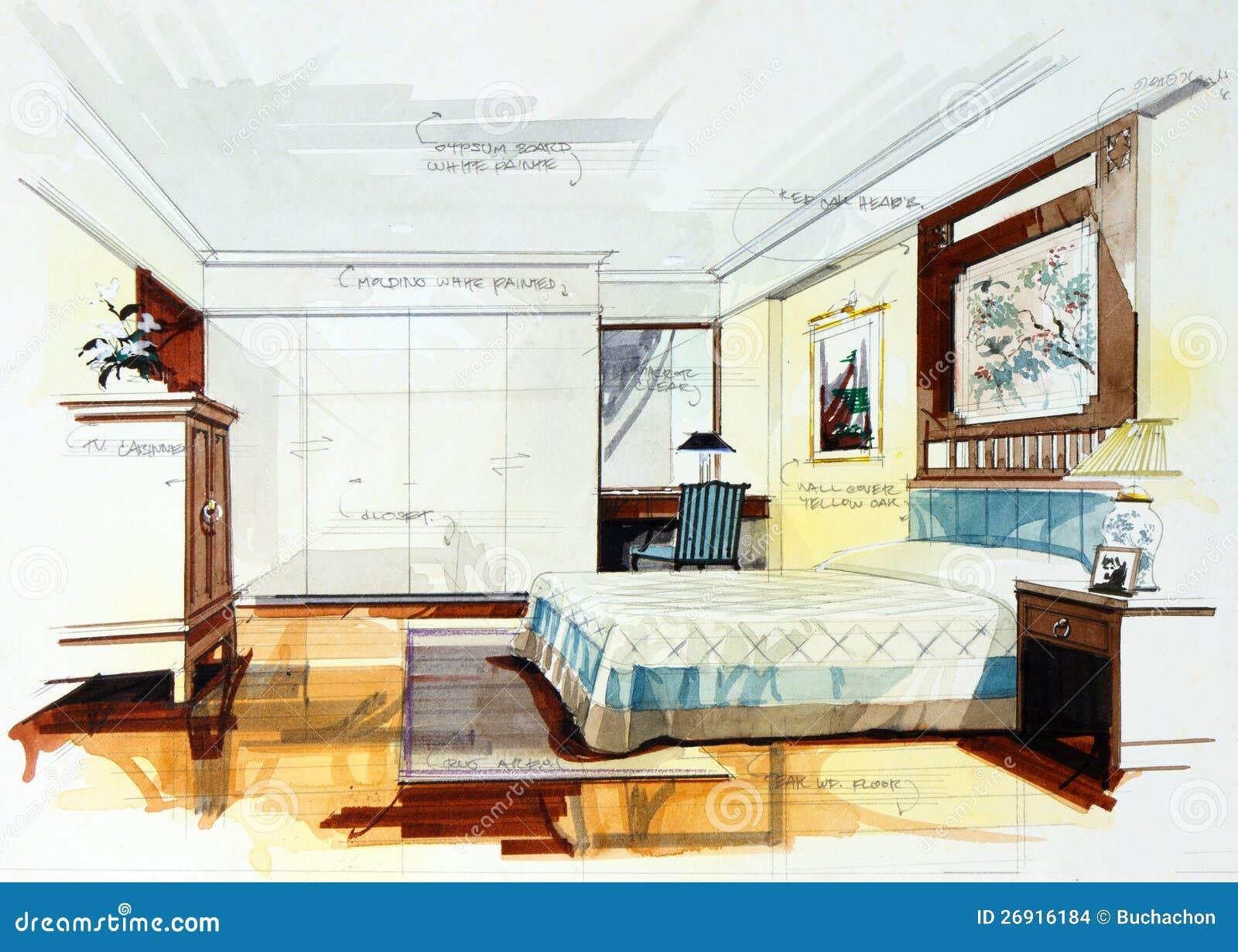schizzo grafico della camera da letto immagini stock