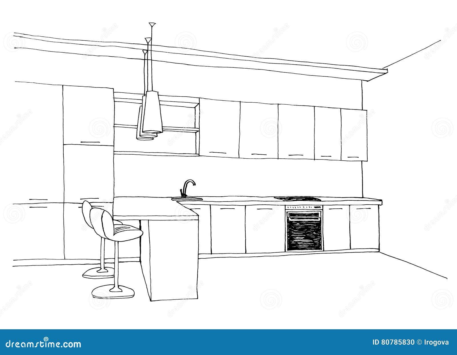 schizzo grafico, la cucina illustrazione di stock. illustrazione di