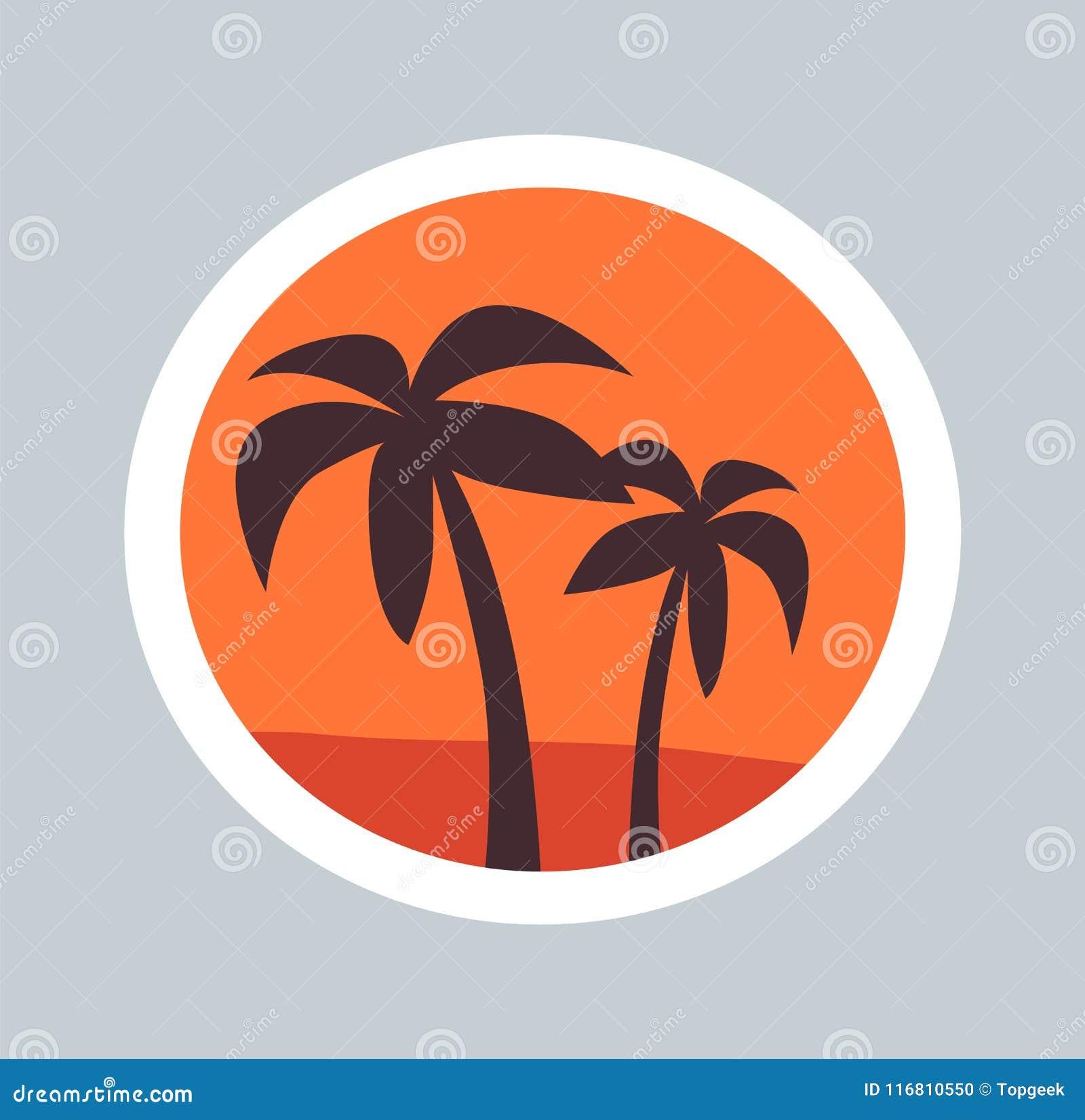 Schizzo rotondo dell illustrazione di vettore delle palme di meraviglia