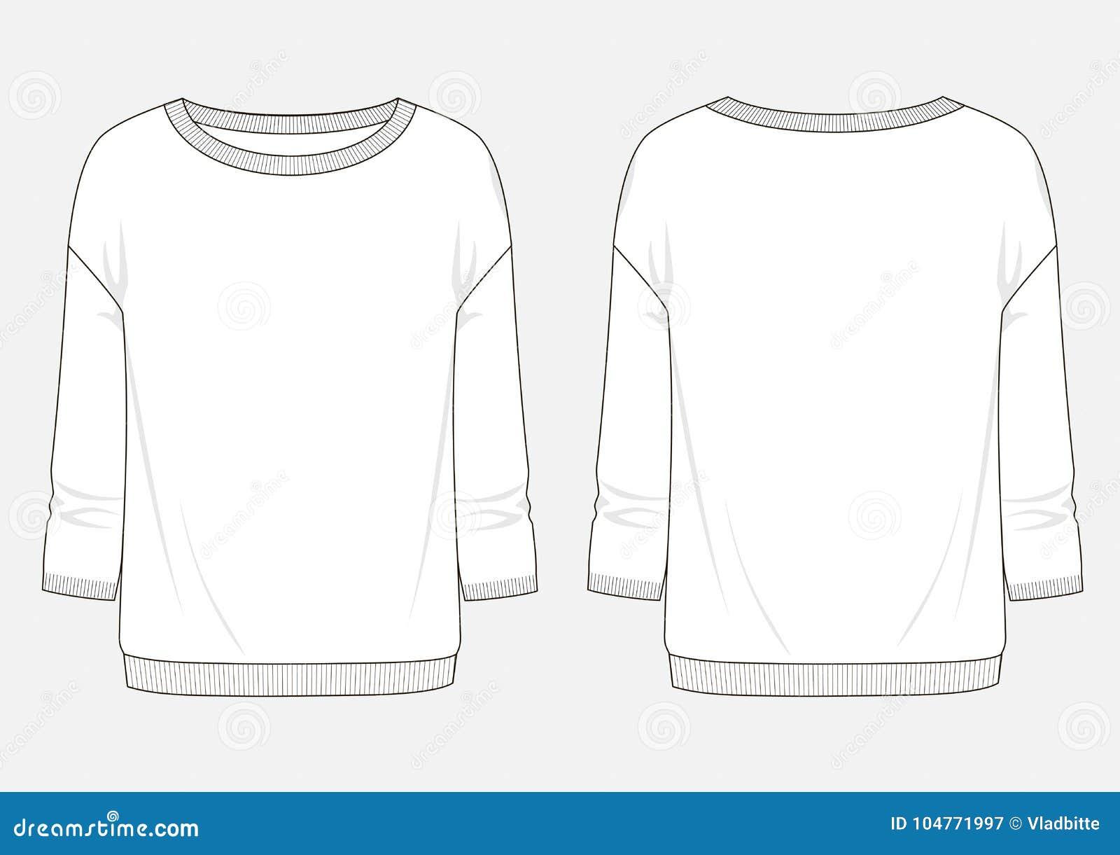 Schizzo tecnico di modo della maglietta felpata della donna