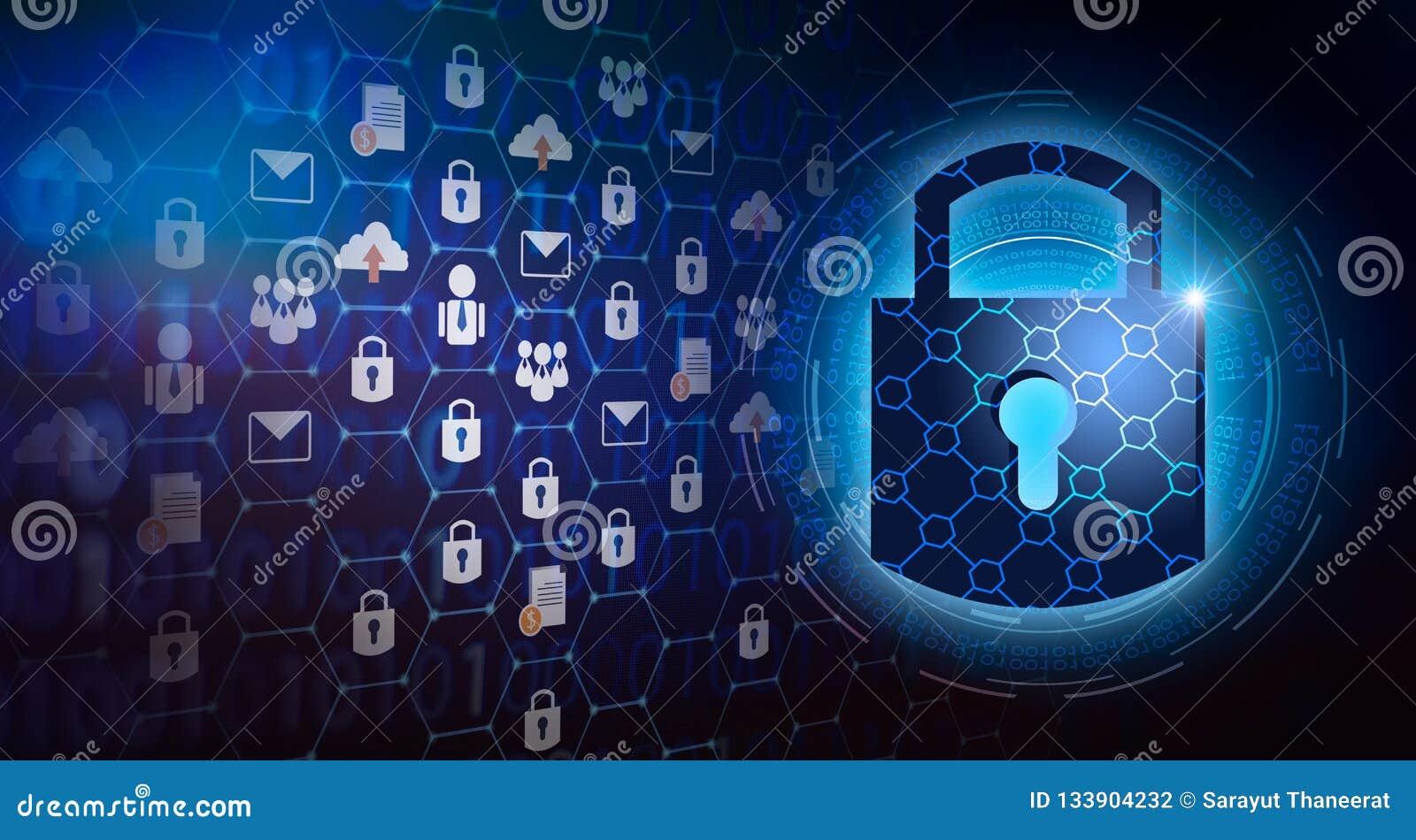 Schlüsselverschlusssicherheitssystemzusammenfassungstechnologieweltdigitale Verbindungsinternetsicherheit auf High-Techem dunkelb