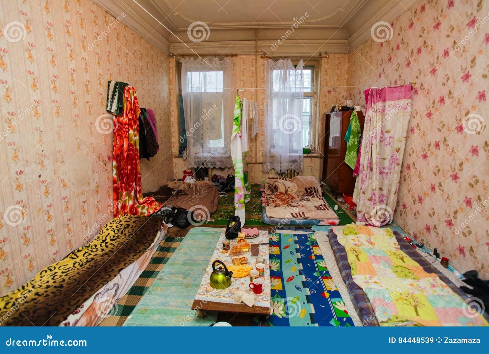 Schlafen Und Bereich Für Flüchtlinge In Der Vorübergehenden Wohnung ...