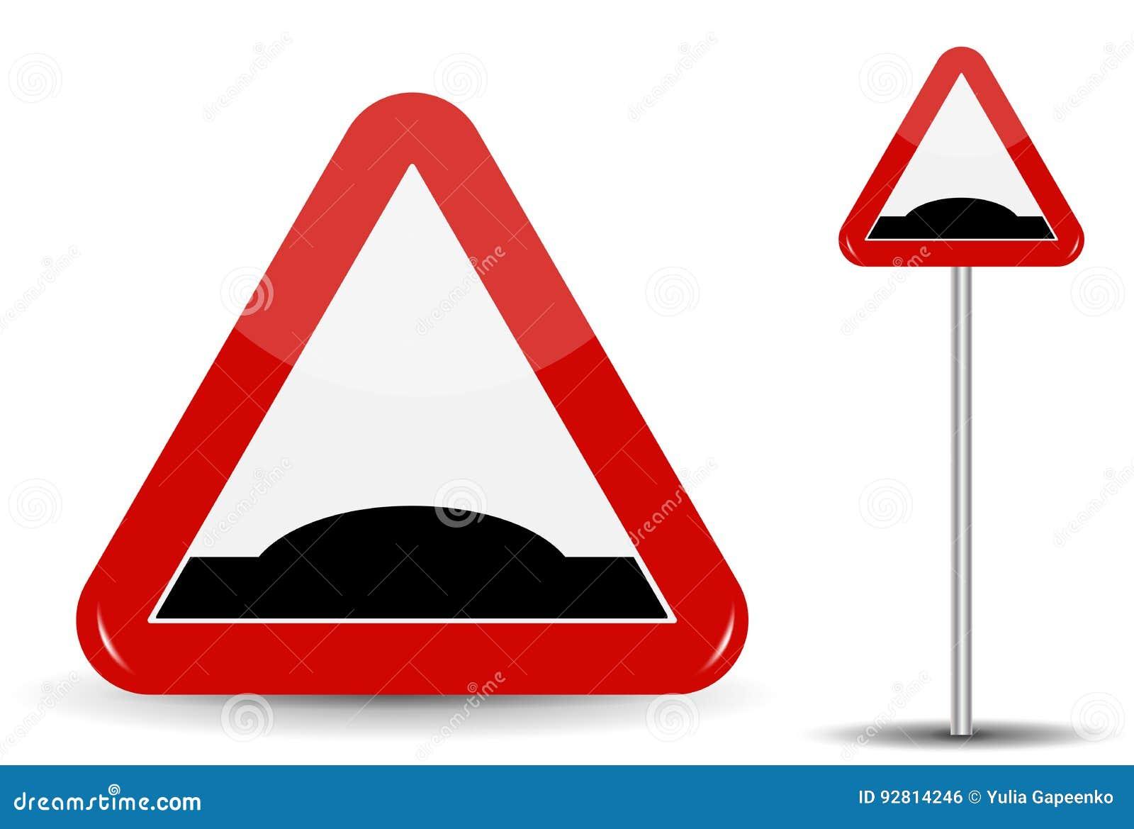 Schlafender Polizist Verkehrsschild Warnung Im roten Dreieck wird schematisch einer künstlichen Ungleichheit in Form dargestellt