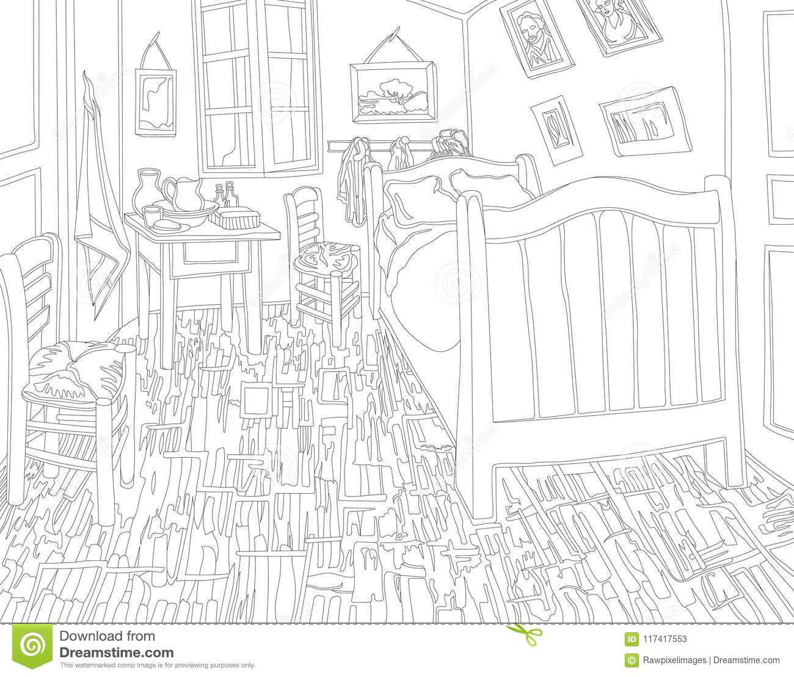 Schlafzimmer In Arles Durch Erwachsene Farbtonseite Vincent Van .