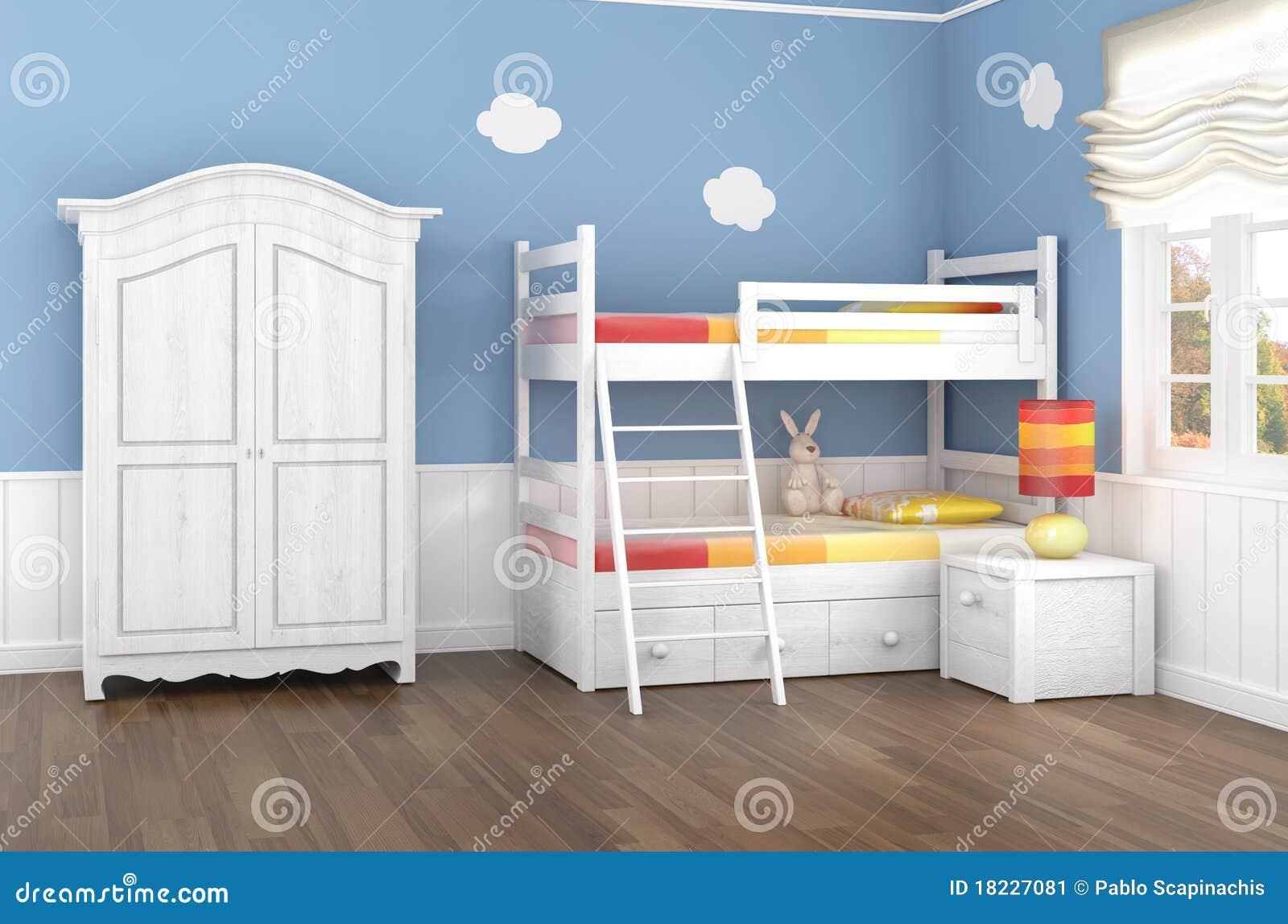 Schlafzimmer Der Blauen Kinder Stock Abbildung - Illustration von ...