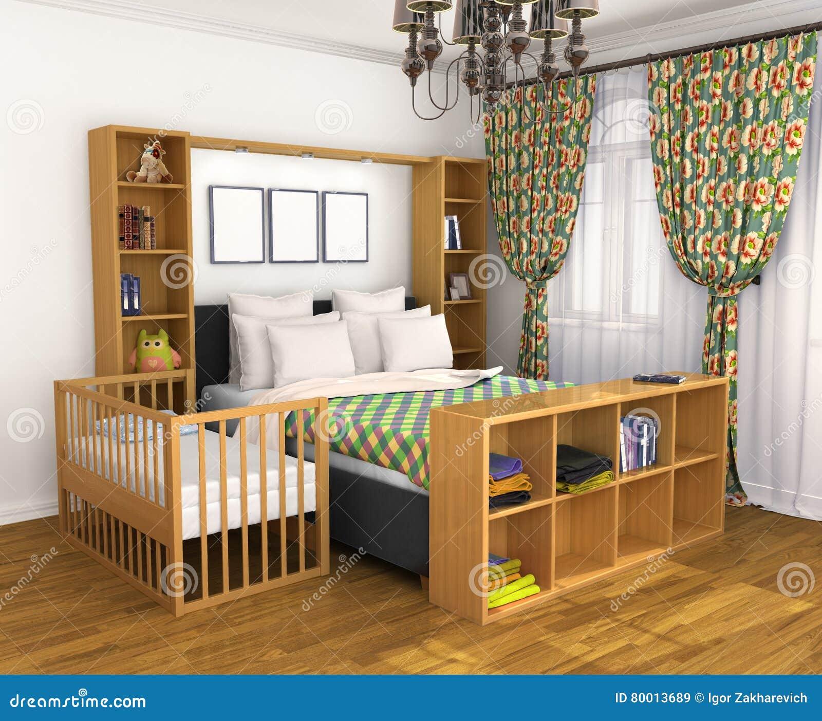 schlafzimmer für die eltern und das kind stock abbildung