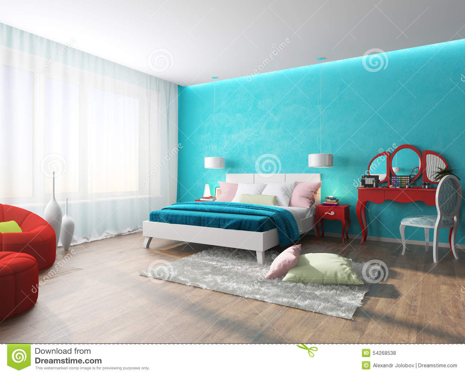 Schlafzimmer im Türkis stock abbildung. Illustration von konzept ...