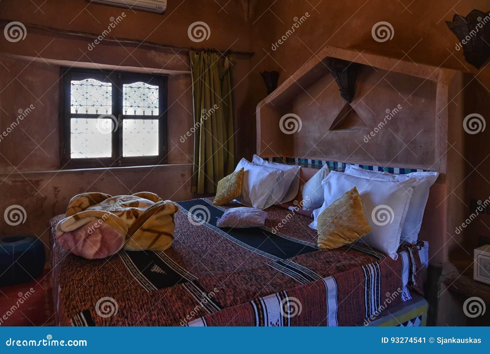 Authentisches Marokkanisches Schlafzimmer In Marrakesch Riad, Afrika,