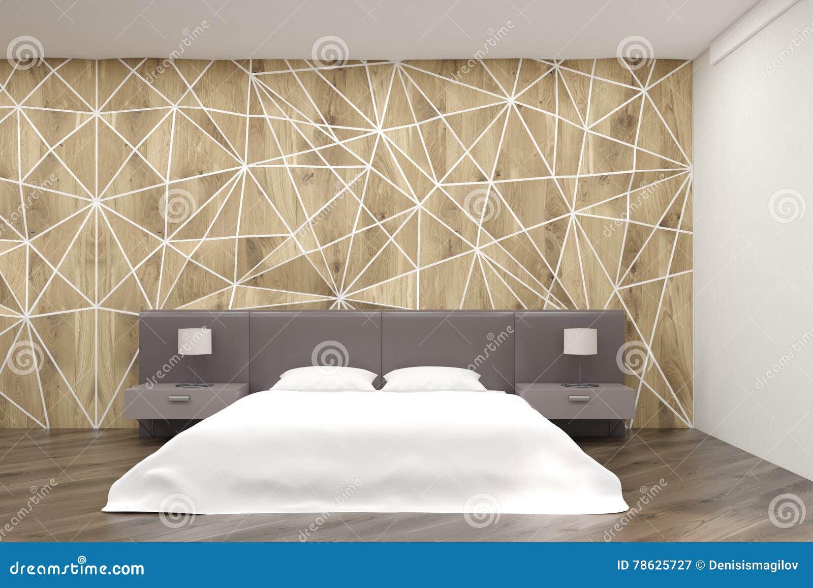Schlafzimmer Mit Rundem Bett Und Geometrischen Wänden Stock