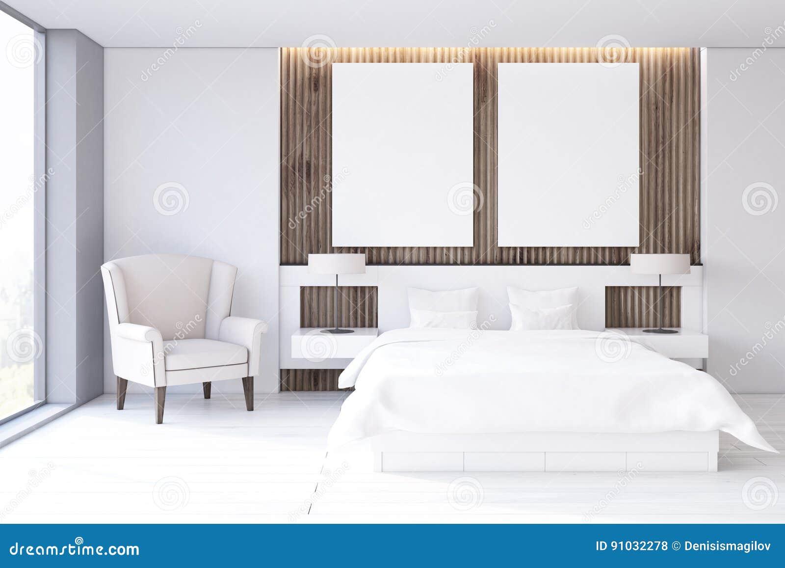 Schlafzimmer Mit Zwei Plakaten Weisser Boden Vorder Stock Abbildung