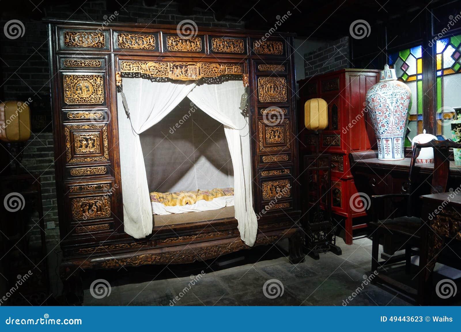 Download Schlafzimmer  Und Bettlandschaftsausstellung Chinas Alte  Redaktionelles Stockfoto   Bild Von Kunst, Asien: